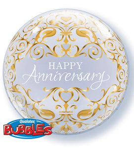 Happy Anniversary Helium Filled Single Bubble Balloon