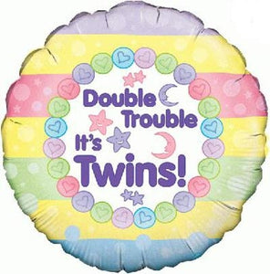 Double Trouble It's Twins Helium Filled Foil Balloon