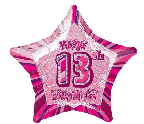 Happy 13th Birthday Pink Glitz Helium Filled Foil Balloon