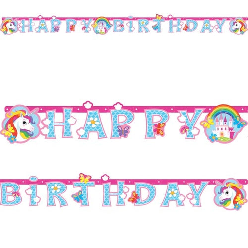 Happy Birthday Unicorn Letter Banner