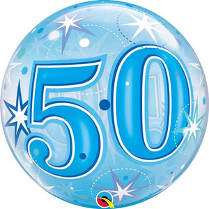 Blue 50 Helium Filled Single Bubble Balloon