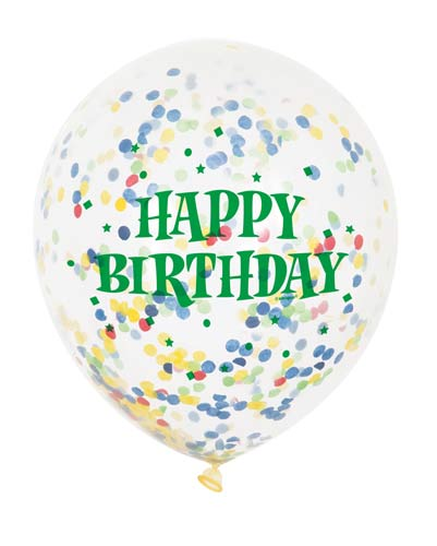 Happy Birthday Clear Latex Balloons With Multi Colour Confetti (6 Pack)