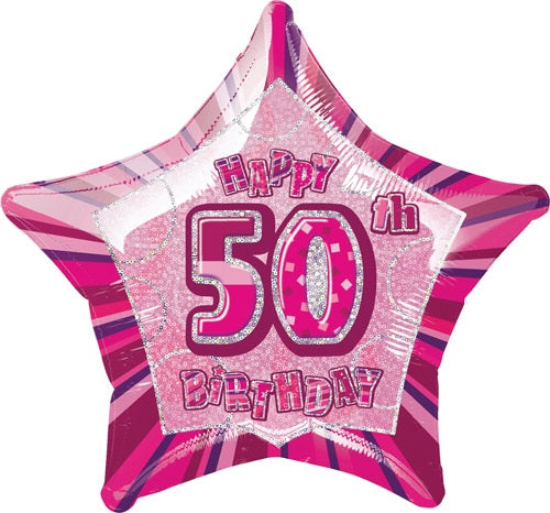 Happy 50th Birthday Pink Glitz Helium Filled Foil Balloon