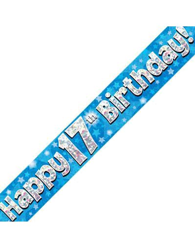 Happy 17th Birthday Blue Holographic Banner
