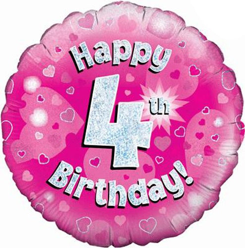 Happy 4th Birthday Pink Helium Filled Foil Balloon