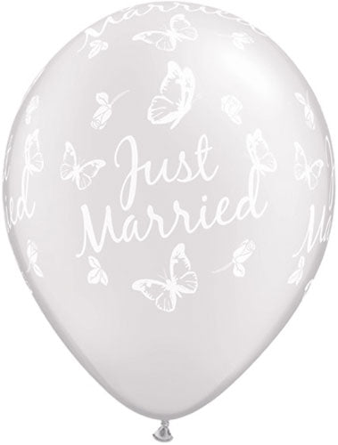Just Married Pearl White Butterflies Latex Balloon (Sold loose)