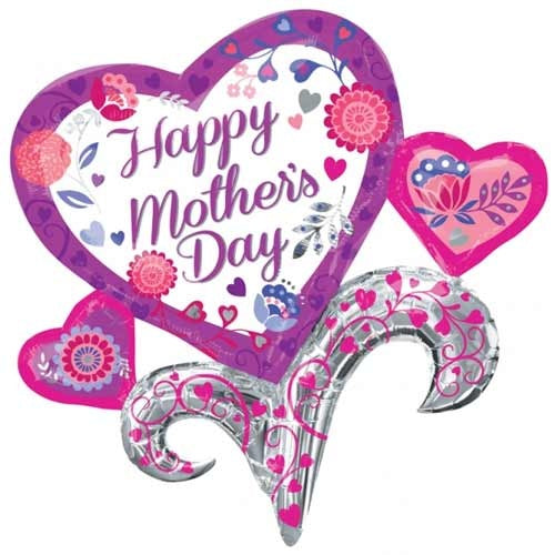 Happy Mother's Day Hearts Supershape Helium Filled Foil Balloon