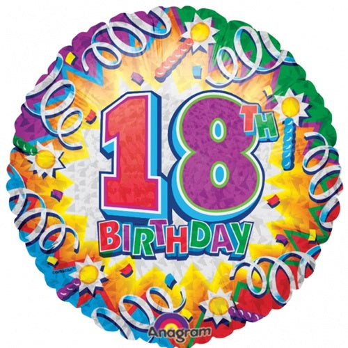 18th Birthday Helium Filled Foil Balloon