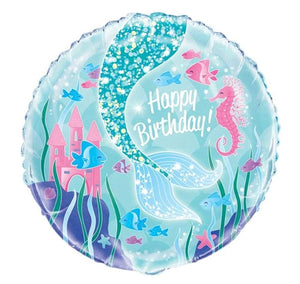 Mermaid Happy Birthday Helium Filled Foil Balloon
