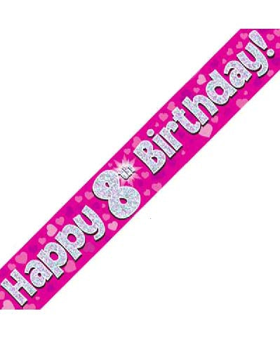Happy 8th Birthday Pink Holographic Banner