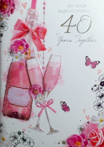 On Your Ruby Anniversary 40 Years Together Greeting Card