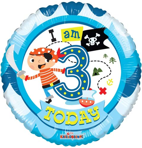 I Am 3 Today Pirates Helium Filled Foil Balloon
