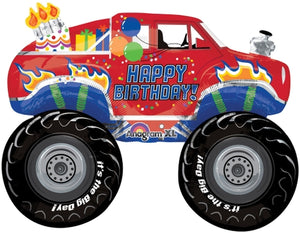 Happy Birthday Monster Truck Helium Filled Supershape Foil Balloon