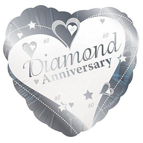 Diamond Anniversary Helium Filled Foil Balloon