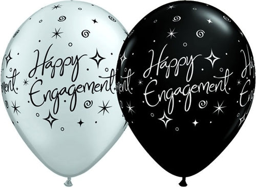 Happy Engagement Black And Silver Latex Balloons x10 (Sold loose)