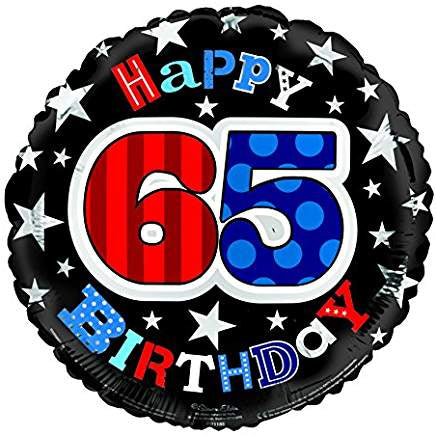 Happy 65th Birthday Red/Blue/Black Helium Filled Foil Balloon