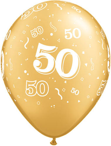 50 Around Gold Latex Balloon (Sold loose)