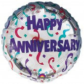 Happy Anniversary Streamers Helium Filled Foil Balloon