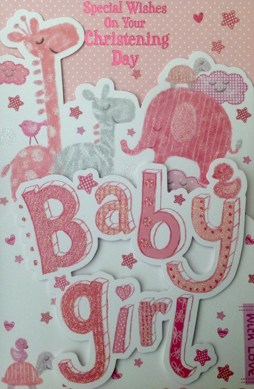 Special Wishes On Your Christening Day Pink Greeting Card