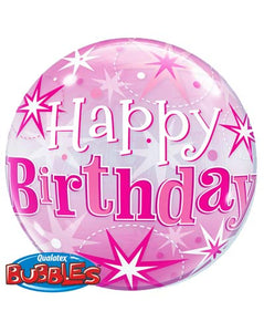 Happy Birthday Pink Helium Filled Single Bubble Balloon