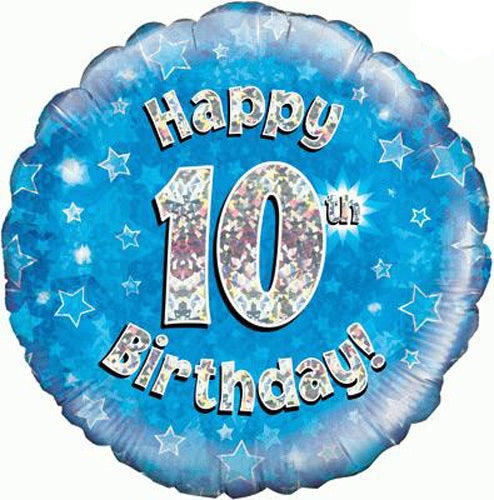 Happy 10th Birthday Blue Helium Filled Foil Balloon