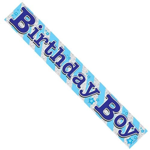 Birthday Boy Blue Holographic Banner