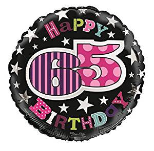 Happy 65th Birthday Pink/Purple/Black Helium Filled Foil Balloon