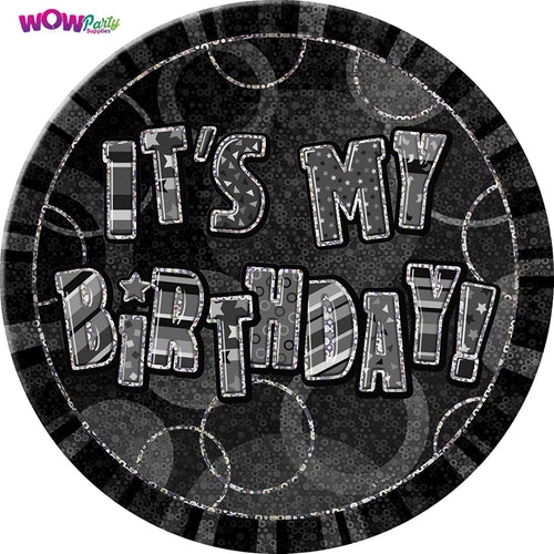 It's My Birthday Black Glitz Jumbo Badge