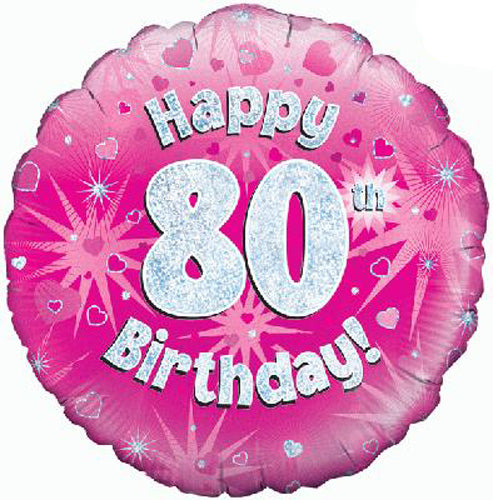 Happy 80th Birthday Pink Helium Filled Foil Balloon