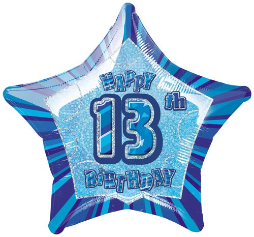 Happy 13th Birthday Blue Glitz Helium Filled Foil Balloon
