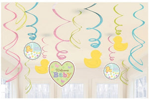 Baby Shower Plastic Swirl Decorations x12