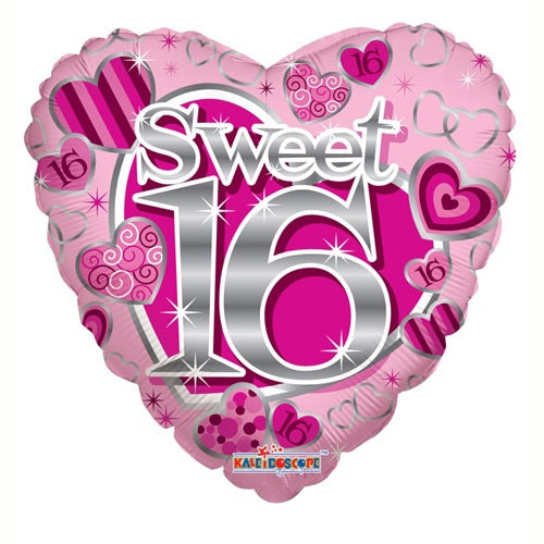 Sweet 16 Heart Shape Helium Filled Foil Balloon