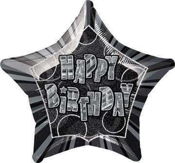 Happy Birthday Black Glitz Helium Filled Foil Balloon