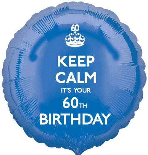 Keep Calm It's Your 60th Birthday Helium Filled Foil Balloon