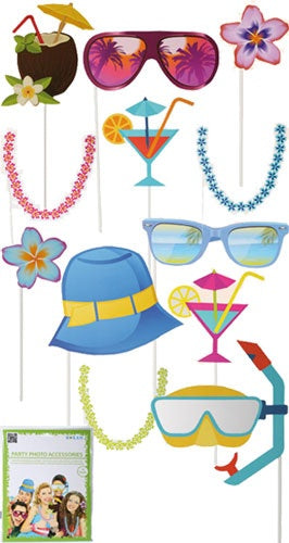 Beach Party Photo Props (12 Pieces)
