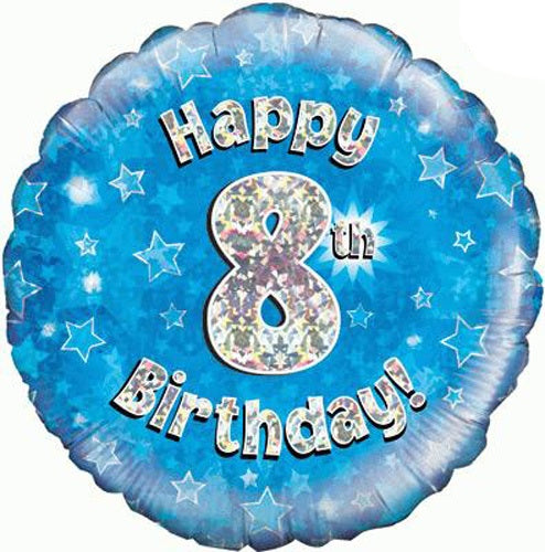 Happy 8th Birthday Blue Helium Filled Foil Balloon