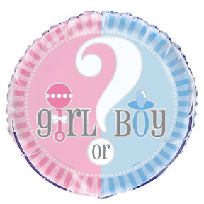 Girl Or Boy Baby Shower Helium Filled Foil Balloon