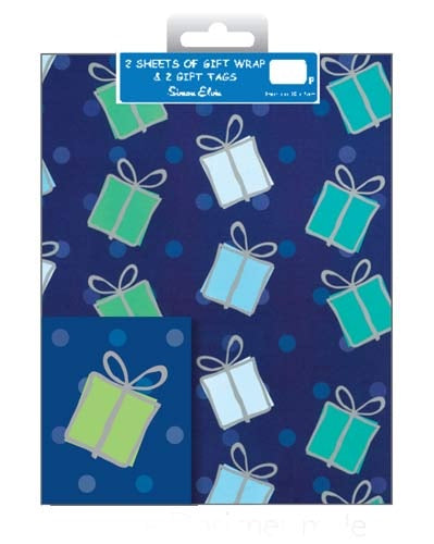 Blue Presents Gift Wrap And Tag Set
