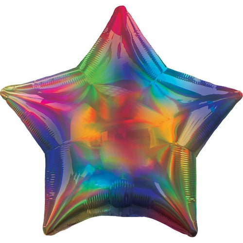 Rainbow Iridescent Star Shape Helium Filled Foil Balloon