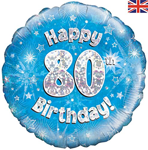 Happy 80th Birthday Blue Helium Filled Foil Balloon
