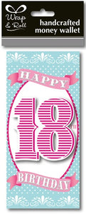 Happy 18th Birthday Pink Handcrafted Money Wallet