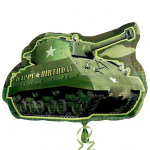 Happy Birthday Camouflage Tank Helium Filled Supershape Foil Balloon