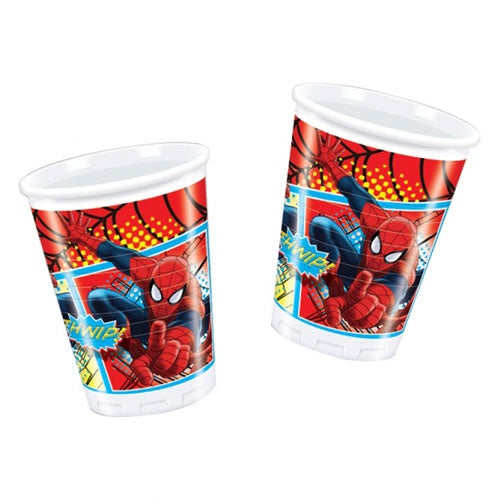 Spiderman Plastic Party Cups x8