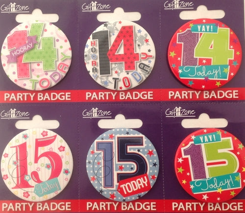 Age 14 & 15 Small Birthday Badge