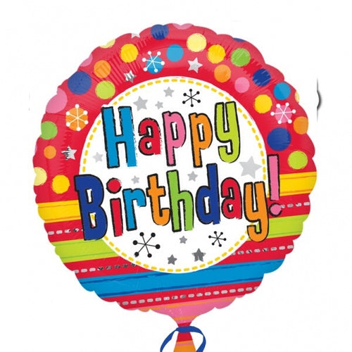Bright Happy Birthday Helium Filled Foil Balloon