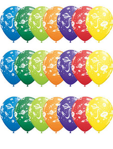 Aliens And Spaceships Latex Balloons In Assorted Colours x6 (Sold loose)