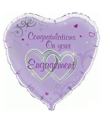 Congratulations On Your Engagement Heart Shape Helium Filled Foil Balloon