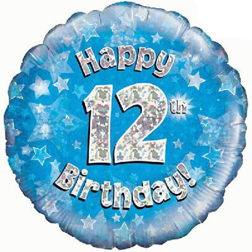 Happy 12th Birthday Blue Helium Filled Foil Balloon
