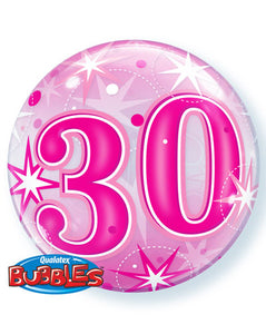 Pink 30 Helium Filled Single Bubble Balloon