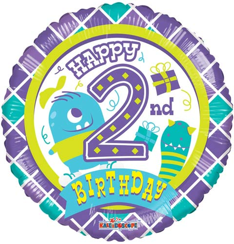 Happy 2nd Birthday Monster Helium Filled Foil Balloon